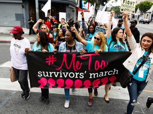 Sexual assault survivors rally and march in Hollywood