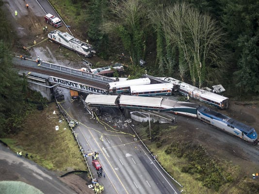 Report: At least 6 dead after Amtrak train derails from bridge onto Interstate 5 near Olympia, Wash.