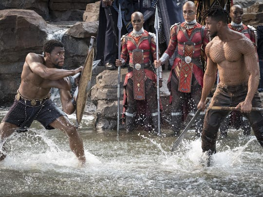 Chadwick Boseman, left, and Michael B. Jordan do battle