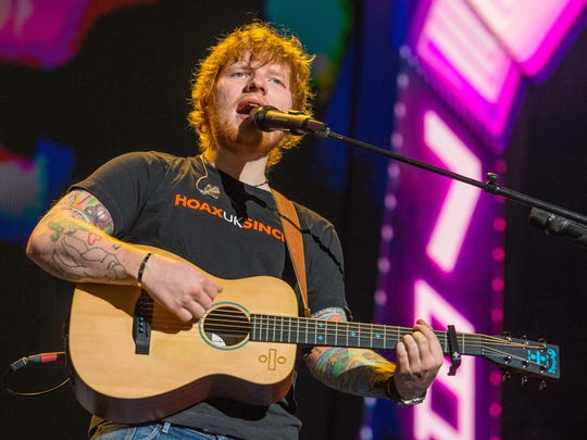 Ed Sheeran performs at Little Caesars Arena Sept. 27.