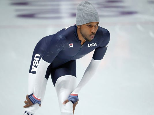 Shani Davis of the United States trains during a speed skating training session prior to the 2018 Winter Olympics in Gangneung, South Korea, Friday, Feb. 9, 2018. (AP Photo/John Locher)