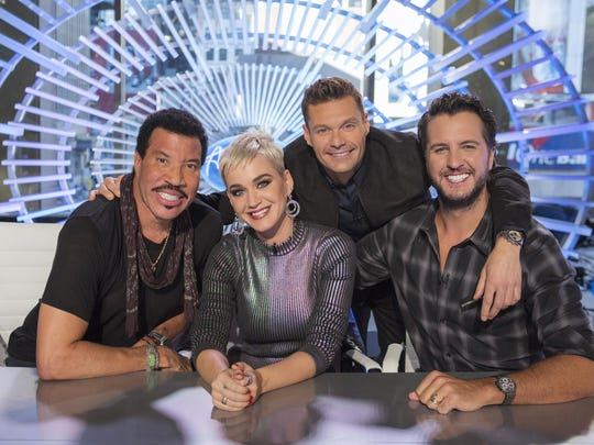 "Lionel Richie, left, Katy Perry, Ryan Seacrest and Luke Bryan on the set of ""American Idol"" in New York."