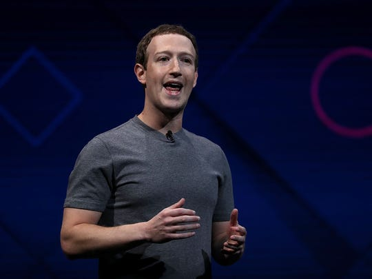 Facebook CEO Mark Zuckerberg delivering the keynote address at Facebook's f8 conference in April 2017. (Photo by Justin Sullivan/Getty Images)