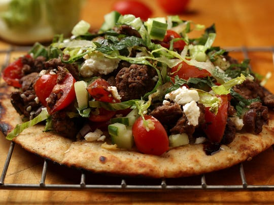 Grilled pitas are the foundation for an open-faced