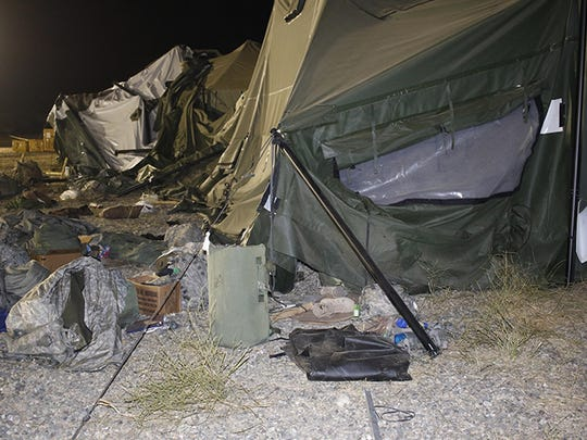 A U.S. Army UH-60 Blackhawk helicopter was landing about 9:30 p.m. when the wind from its rotor caused the tent to collapse, said Amy Phillips, public information officer at the Monterey County base.