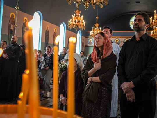 Nina Dewberry, left, and her husband David Dewberry attend Sunday services at Saints Peter and Paul Orthodox Church on 355 S 300 E in downtown Salt Lake on Sunday, April 22, 2018.