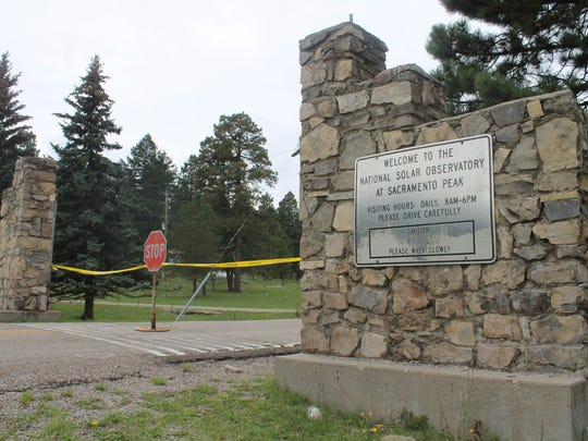 The entrance to Sunspot Observatory is blocked near