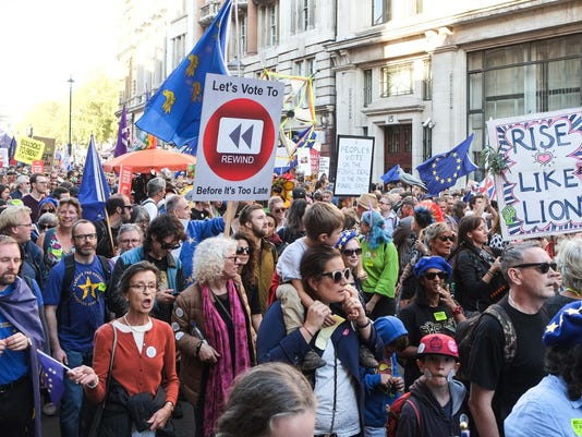 A half million gather in London to demand vote on Brexit deal