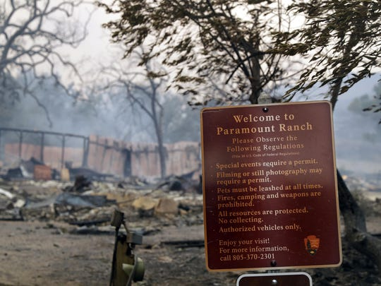 This Friday, Nov. 9, 2018 file photo shows Paramount Ranch, a frontier western town built as a movie set that appeared in countless movies and TV shows, after it was decimated by the Woolsey fire in Agoura Hills, Calif.