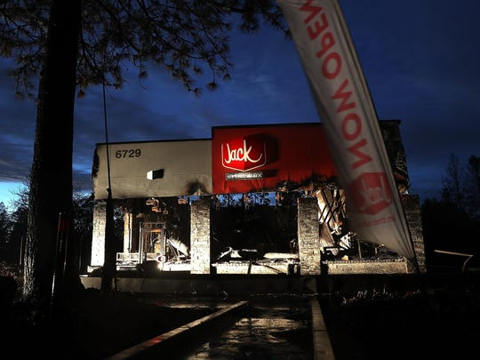 A view of a Jack in the Box restaurant that was destroyed by the Camp Fire on November 21, 2018 in Paradise, California.