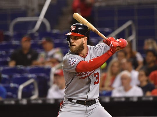 MIAMI, FL - SEPTEMBER 18: Bryce Harper #34 of the Washington Nationals at bat in the sixth inning against the Washington Nationals at Marlins Park on September 18, 2018 in Miami, Florida. (Photo by Mark Brown/Getty Images)