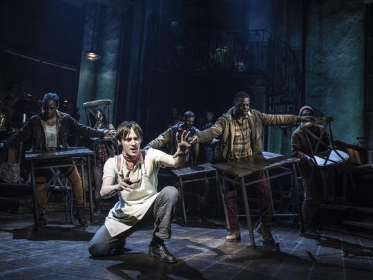 "Reeve Carney and the cast are shown during a performance of ""Hadestown,"" directed by Rachel Chavkin. The musical was nominated for 14 Tony awards on Tuesday."