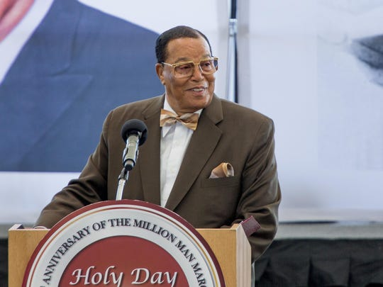 Nation of Islam leader Louis Farrakhan speaks at Aretha Franklin Park in Detroit, MI in this October 14, 2018, file photo. Facebook has banned Farrakhan, Alex Jones and others from its main service and from Instagram, saying they violated the company's ban against hate and violence.