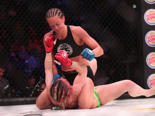 Taylor Turner has the advantage over Heather Hardy during their match at Madison Square Garden in New York on June 14, 2019. Turner won by TKO in the first round at Bellator 222. MMA Junkie Staff