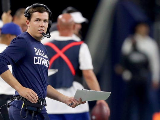 ARLINGTON, TEXAS - AUGUST 29: Offensive coordinator Kellen Moore of the Dallas Cowboys on the sideline against the Tampa Bay Buccaneers in the fourth quarter of a NFL preseason game at AT&T Stadium on August 29, 2019 in Arlington, Texas. (Photo by Tom Pennington/Getty Images)
