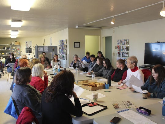 Organizers for Project Homeless Connect 2020 meet at the Independent Living Center in Soldotna, Alaska., on Dec. 10.