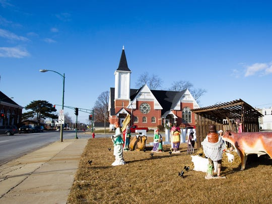 A relocated nativity scene in Centerville, Iowa. Many residents of the city have been angered by a decision to move a nativity scene from the courthouse lawn to outside a nearby church.