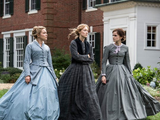 "Florence Pugh, from left, Saoirse Ronan and Emma Watson in a scene from ""Little Women."""