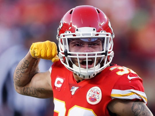Kansas City Chiefs' Tyrann Mathieu reacts during the second half of the NFL AFC Championship football game against the Tennessee Titans Sunday, Jan. 19, 2020, in Kansas City, MO. (AP Photo/Charlie Neibergall)