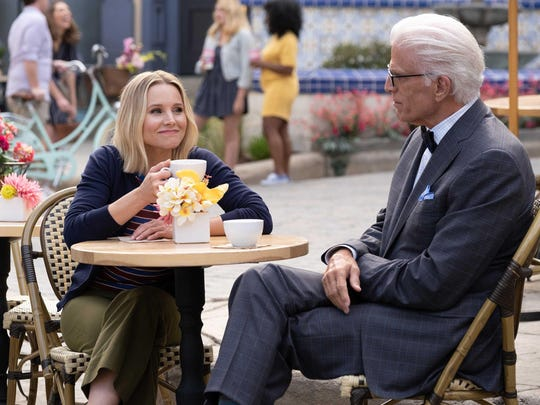 """Kristen Bell and Ted Danson in """"The Good Place,"""" which concludes its run at 8:30 p.m. Thursday on NBC."""