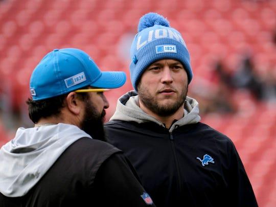 Lions coach Matt Patricia, left, with quarterback Matthew Stafford on Nov. 24, 2019.