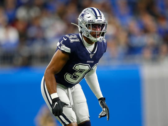Dallas Cowboys cornerback Byron Jones (31) plays against the Detroit Lions during an NFL football game in Detroit, Sunday, Nov. 17, 2019. (AP Photo/Paul Sancya)