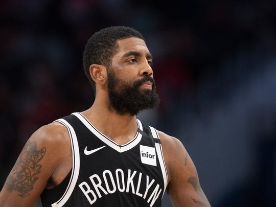 Feb 1, 2020; Washington, District of Columbia, USA;  Brooklyn Nets guard Kyrie Irving (11) stands on the court during the second half against the Washington Wizards at Capital One Arena. Mandatory Credit: Tommy Gilligan-USA TODAY Sports