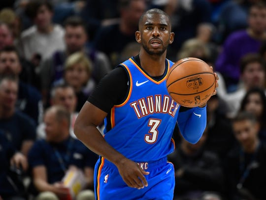 Chris Paul #3 of the Oklahoma City Thunder looks on during an opening night game against the Oklahoma City Thunder at Vivint Smart Home Arena on October 23, 2019 in Salt Lake City, Utah.
