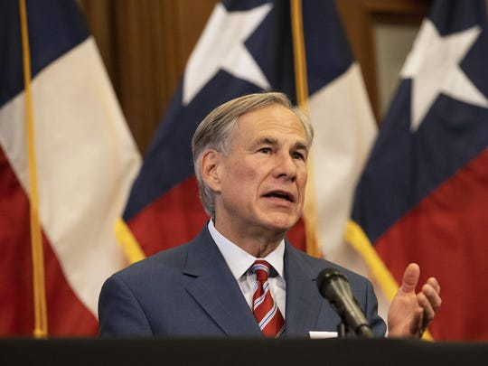 Texas Governor Greg Abbott announces the reopening of more Texas businesses during the COVID-19 pandemic at a press conference at the Texas State Capitol in Austin on Monday.