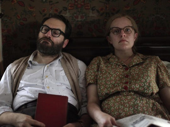 "Michael Stuhlbarg, left, and Elisabeth Moss in ""Shirley."""