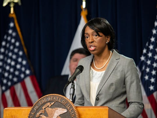 Dr. Ngozi Ezike, director of the Illinois Department of Public Health, speaks at Gov. J.B. Pritzker's daily Illinois coronavirus update at the Thompson Center in Chicago on April 23.
