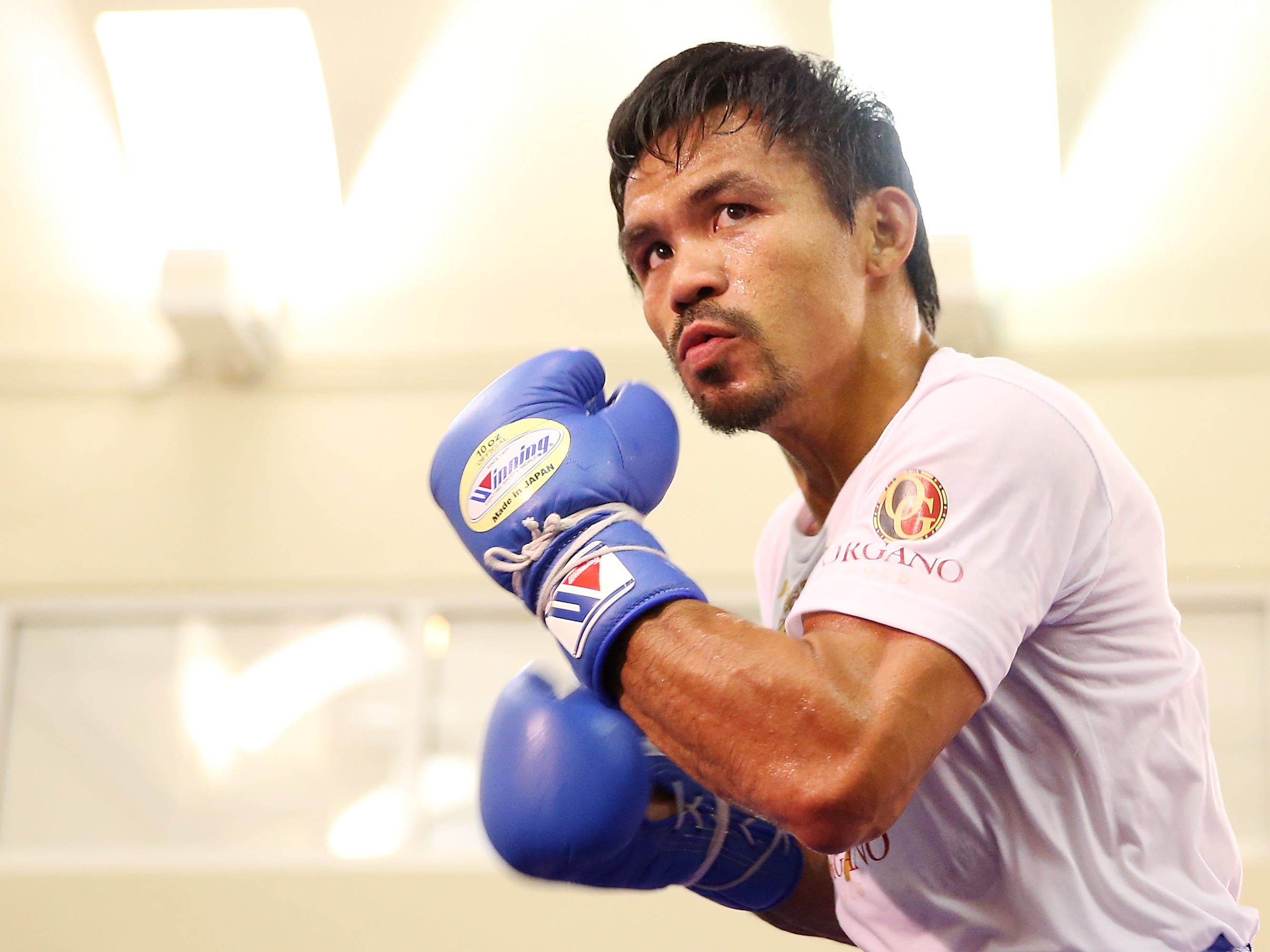 Manny Pacquiao trains during a workout session at The Venetian on Thursday in Macau, Macau.