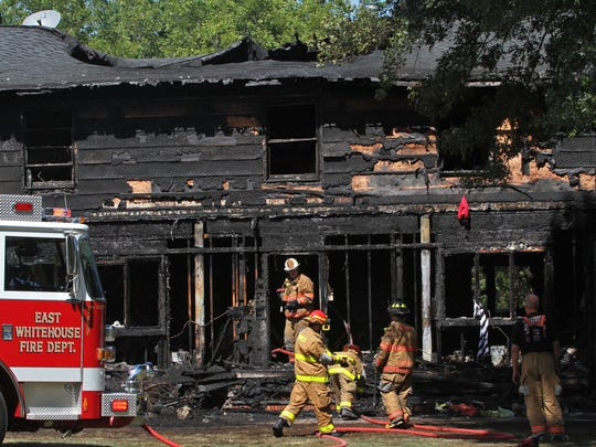 A Friday fire left a home on North Ryland Road in the Whitehouse section of Readington completely charred.