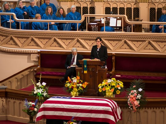 Laura Jeffords talks about her father, the late Sen. Jim Jeffords, during his funeral Friday at the Grace Congregational United Church of Christ in Rutland.
