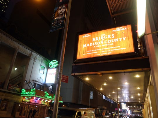 """The 1,100-seat Gerald Schoenfeld Theatre is located at 236 W. 45th St., between Broadway and Eighth Avenue in New York City. It was packed for Wednesday?s final preview of ?The Bridges of Madison County.? The marquee of the Gerald Schoenfeld Theater in New York City Feb. 19, 2014 photographed before the final preview of the new Broadway musical 'Bridges of Madison County"""".  ( Seth Harrison / The Journal News )"""