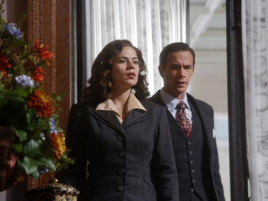 "Marvel's ""Agent Carter"" series features Peggy Carter (Hayley Atwell) and James D'Arcy as Edwin Jarvis."