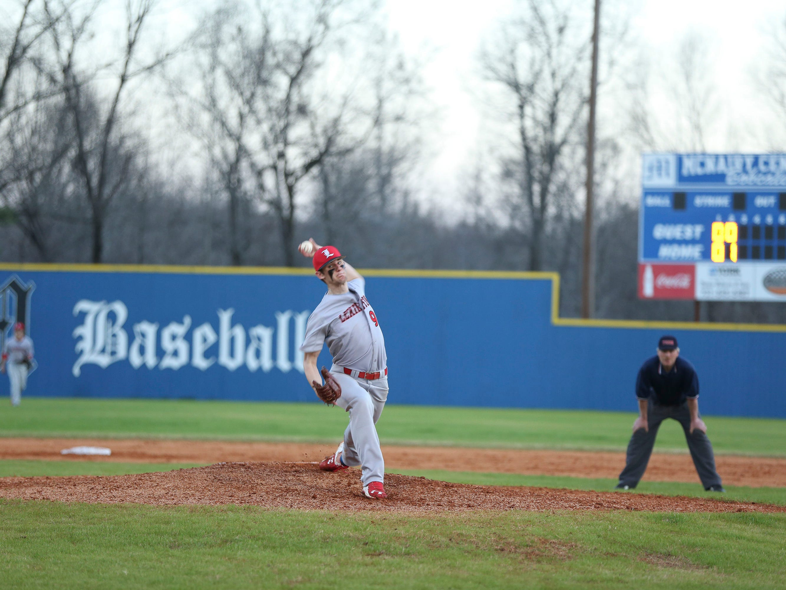 Lexington's Ethan Small pitches against McNairy Central earlier this season.