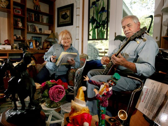 The legendary country songwriter Tom T. Hall and his wife, Dixie, are in the writing room and studio at their home in Franklin, Tenn. Sept. 29, 2007. He has become a popular bluegrass writer, and will be performing in the upcoming International Bluegrass Music Association's Fan Fest.