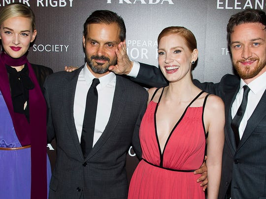 "Jess Weixler (from left), Ned Benson, James McAvoy and Jessica Chastain attend a screening of ""The Disappearance Of Eleanor Rigby"" on Sept. 10 in New York."