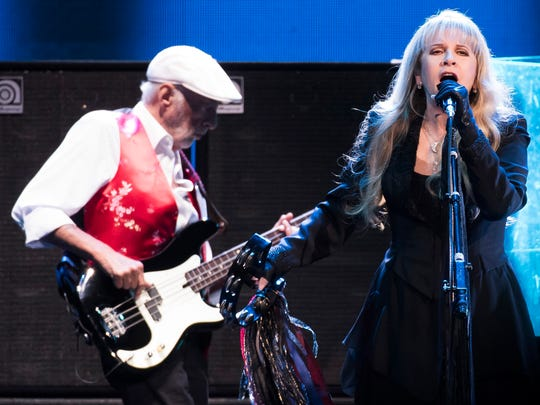 John McVie and Stevie Nicks of Fleetwood Mac perform at Madison Square Garden on Monday in New York.