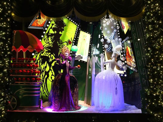One of the holiday windows at the Saks Fifth Avenue's flagship store in New York City. Saks' window displays this season are themed on classic fairytales but are decorated in Art Deco style.