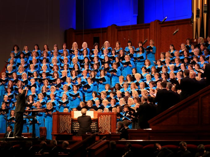 The Mormon Tabernacle Choir performs during the Sunday morning session of a previous General Conference of The Church of Jesus Christ of Latter-day Saints at the Conference Center in Salt Lake City.
