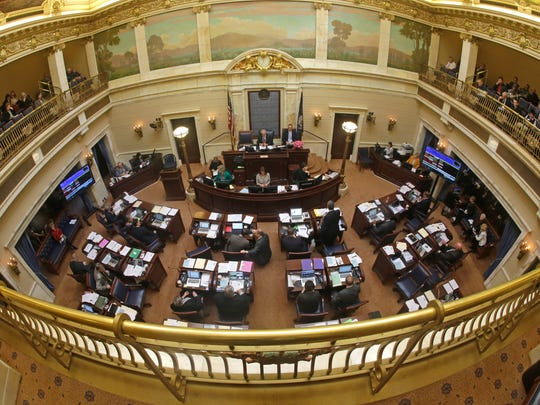 The Senate floor is shown, Tuesday, Feb. 24, 2015, at the Utah State Capitol, in Salt Lake City. Gov. Gary Herbert's Medicaid plan passed a key test Tuesday afternoon as Utah's Republican-controlled Senate voted to give an initial approval to the plan.