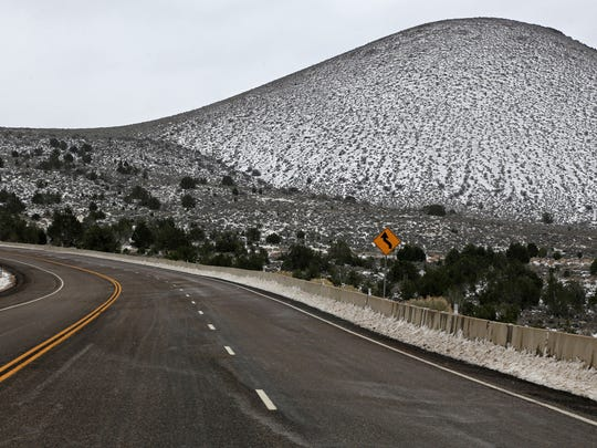 A light snow covers the Veyo Volcano on Monday, Feb. 23, 2015, along state Route 18.