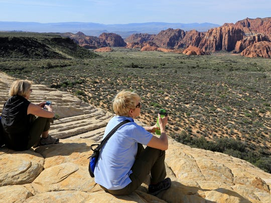 Members of Intermountain Healthcare's Southwest Region Executive Team look out over Snow Canyon State Park from the Whiterocks area at the north end of the park.