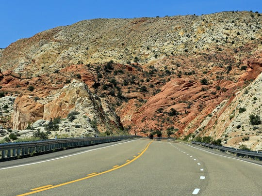 U.S. Route 89 travels through a colorful landscape between Page, Arizona, and Kanab.