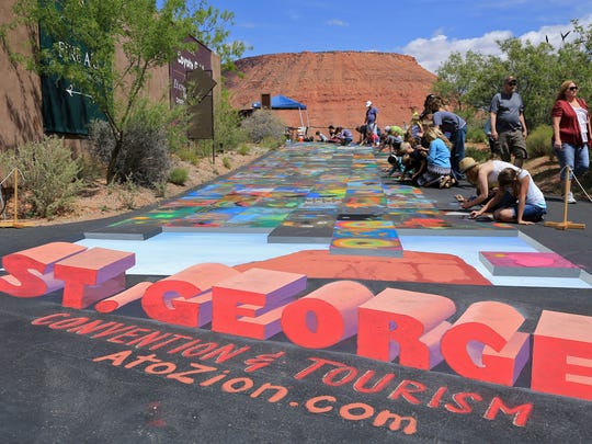 This 3D painting by Aimee Bonham was the centerpiece of the 2014 Kayenta Street Painting Festival at Coyote Gulch Art Village in Ivins City. Bonham has created another 3D image for this year's festival but it will be permanent.