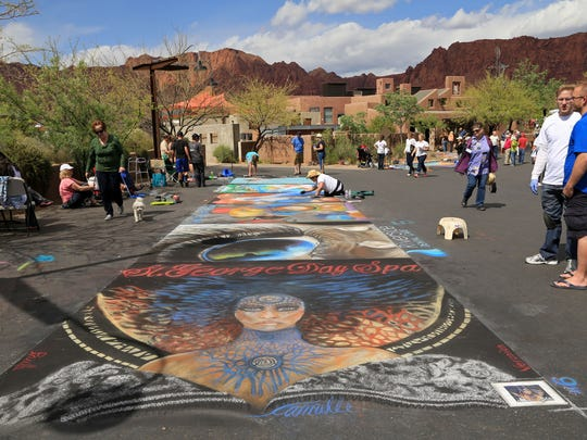 Pastel paintings covered the pavement of Coyote Gulch Art Village during the 2014 Kayenta Street Painting Festival in Ivins City.