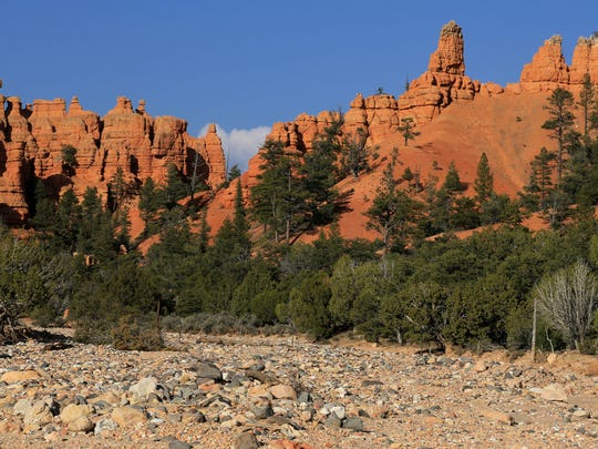 Casto Canyon is located on the west side of Red Canyon in the Dixie National Forest and accessible via a dirt road.
