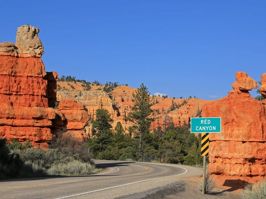 State Route 12, an All-American Road, passes through the middle of Red Canyon in the Dixie National Forest between Panguitch and Bryce Canyon National Park.